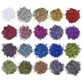 Ideen mit Herz Juego de lentejuelas metálicas, 20 colores en bolsa de 15 g   Lentejuelas para coser, pegar, enhebrar   Coser, arte, manualidades, joyas (4 mm de diámetro, 60.000 unidades)