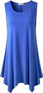 LARACE Lanmo Women Plus Size Solid Basic Flowy Tank Tops Summer Sleeveless Tunic(2X, Blue)