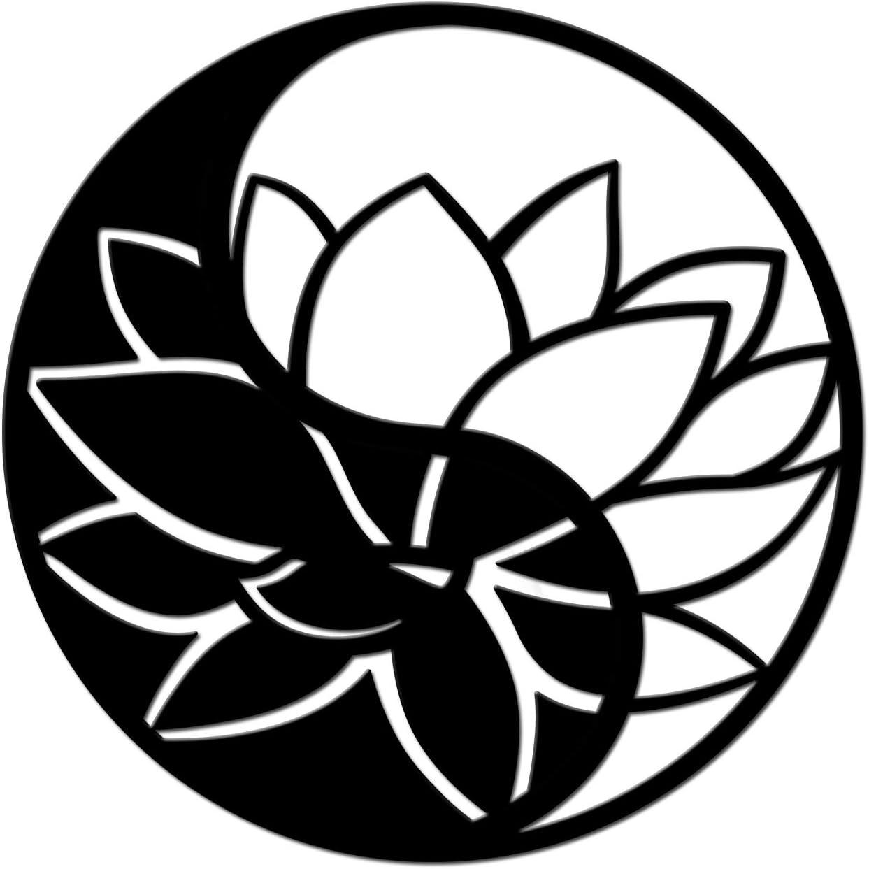 Artmyharbor Lotus Flower of Life Metal Wall Art Yin Yang Decor Yoga Symbol Metal Wall Sculpture Decorative Meditation Yoga Hanging Artwork Home Bedroom Bathroom Wall Decoration