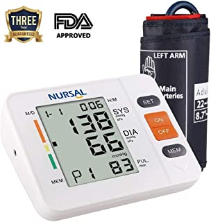 NURSAL Upper Arm Digital Blood Pressure Monitor with WHO Indicator and Large LCD Screen for 2