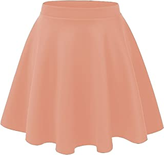 ae01fd00fb7 Noble U Women s Basic Solid Versatile Stretchy Swing Mini Skater Skirt