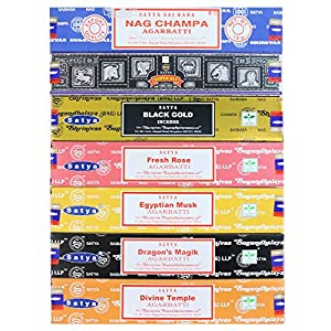 Nag Champa Incense Stick Packs - Assorted Fragrances - Hand Rolled & Non-Toxic - Perfect for Meditation and Relaxation - Home Fragrance Gift Pack - 15g, Set of 7 Aromas