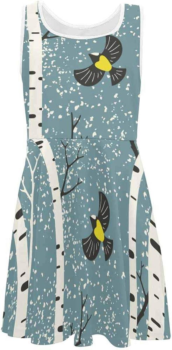 INTERESTPRINT Girls Summer Dresses Sleeveless Dress Casual Party Dress 4-13 Years Snowy Birch Trees and Birds Light Blue 2T