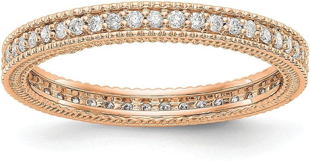 Solid 14k Rose Gold 1 3CT Fees free!! Diamond Milgrain Wedd Edge New mail order Anniversary