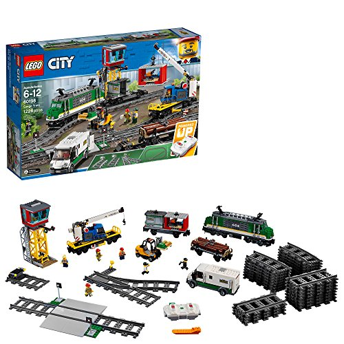 LEGO City Cargo Train 60198 Remote Control Train Building Set with Tracks for Kids, Top Present for Boys and Girls Ages 6-12.