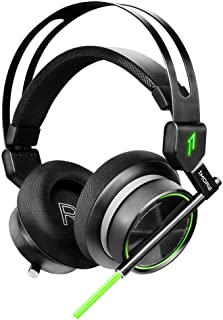 1MORE VR Gaming Over-Ear Headset with Mic, Super Bass 7.1 Stereo Surround Sound, Dual Mic Noise Cancellation and LED Light for PC/IOS/Android Entertain - H1005 Black