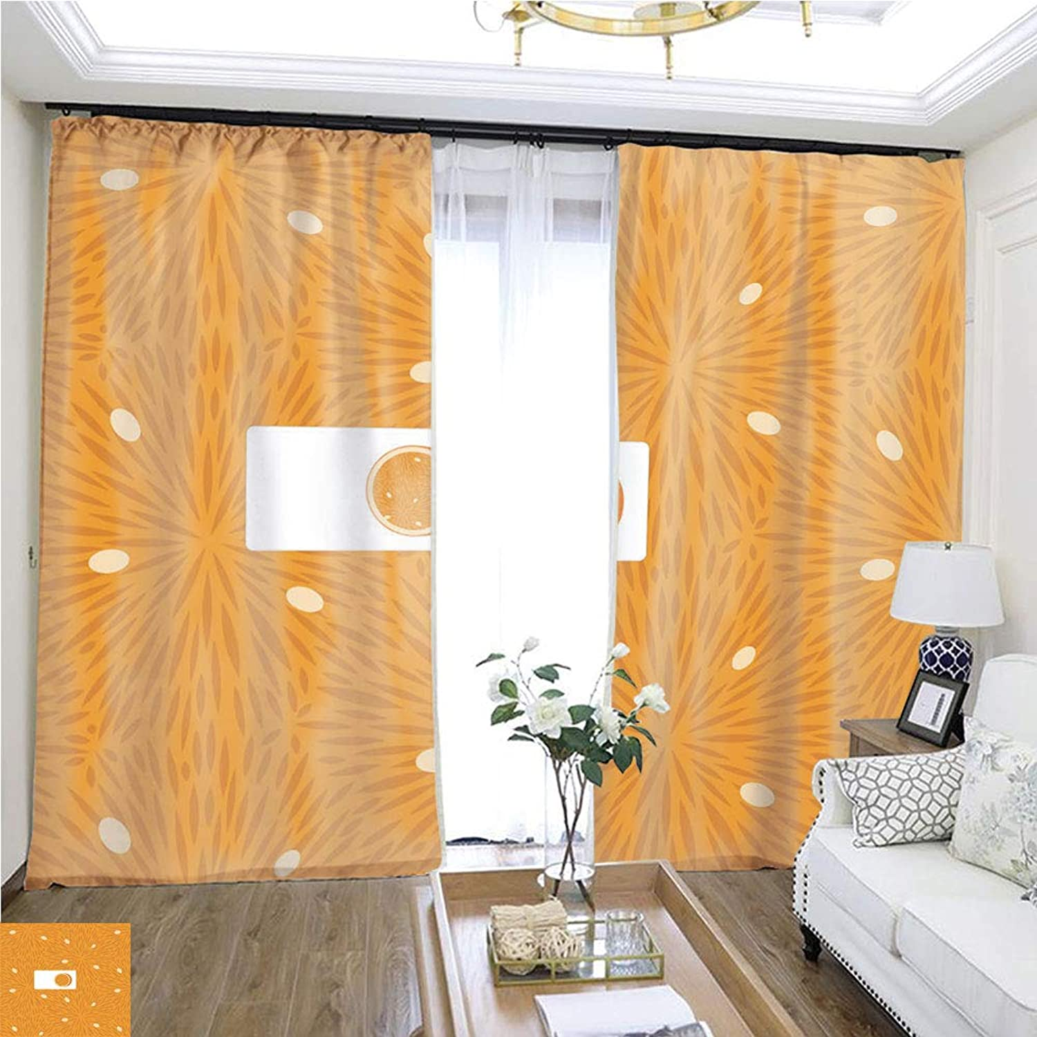 Air Port Screen Food Patterns Fruit orange1 W108 x L80 Block The Sun Highprecision Curtains for bedrooms Living Rooms Kitchens etc.