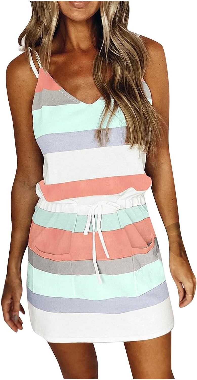 Women's Summer Fashion V Neck T Shirt Mesa Mall Striped Casual Color Dress Block P