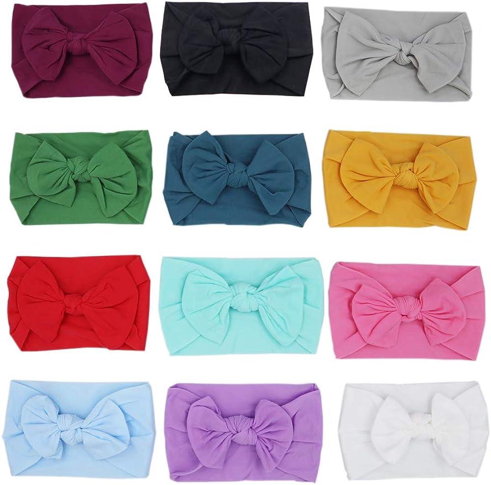 Amkizer 12 PCS Baby Nylon Headbands,Girls Hair Bow, Hairbands Headbands for Baby Newborn Infant Toddlers Kids