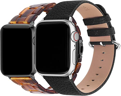 new arrival Fullmosa Compatible Leather 2021 Apple Watch Band 38mm 40mm new arrival Black & Compatible Bright Resin Apple Watch 38mm 40mm Dark Amber (Smoky Grey Hardware) outlet sale
