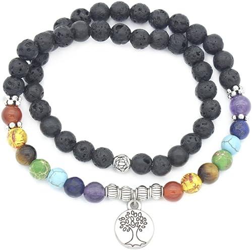 AIUIN Colorée Pierre Bracelet Perles, Bracelet d'Energie 7 Chakras Perle Pierres, Bracelet en Pierres Naturelles pour...
