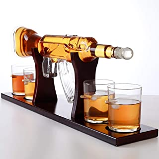 Whiskey Decanter Set, Rifle Gun Whiskey Decanter with 4 Bullet Glasses and Pine Base - for Liquor Scotch Bourbon Vodka, 800ML