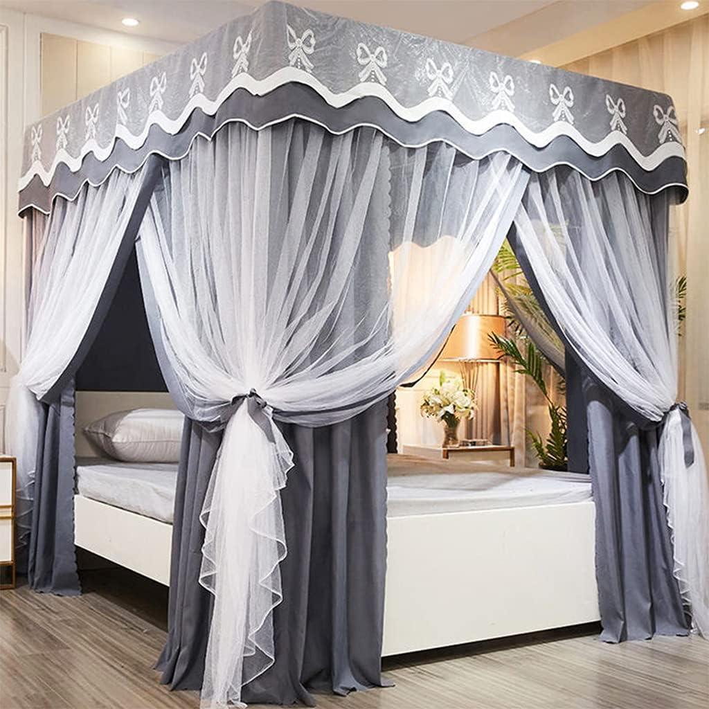 SCMTY Solid Grey Princess 4 Washington Mall New sales Corner Post Girls Boy for Canopy Bed