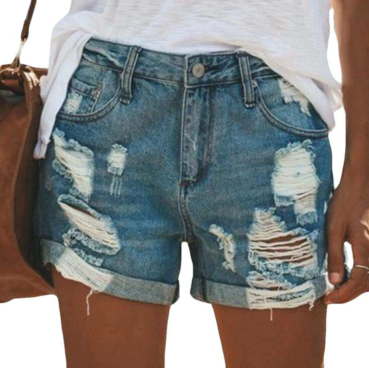 Domple Womens Sexy Pockets Destroyed Ripped Rugged Wear Thong Denim Jeans Shorts
