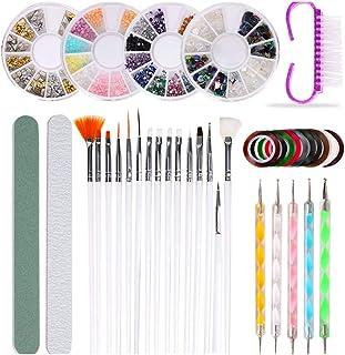 Dainerisy 10pcs/set Nail Brush Dotting Pen Polishing Rasp Kit Nail Art Decoration Striping Tape Rhinestones Suquie Glitters