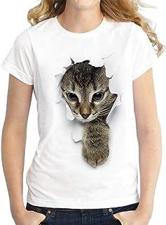 MK988 Womens Crew Neck Casual Cat Printing Short Sleeve Slim T-Shirt Blouse Top