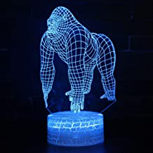 3D Night Light Led Remote Control Dance Gorilla Ape 7 Colors USB for Home Decoration Lamp Amazing Visualization Optical Illusion WGWNYN