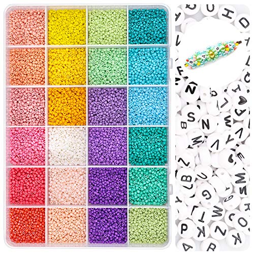 Yholin Glass Seed Beads with Letter Beads Small Kit Beads Bulk with Container Box,7200pcs 2mm 12/0 Small Craft Beads with 0.5 Elastic String and Tweezers for DIY Bracelet Jewelry Making Supplies