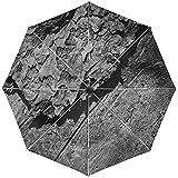 Paraguas automático Superficie de Tronco de árbol de Madera Negro Blanco Viaje Conveniente A Prueba de Viento Impermeable Plegable Automático Abrir Cerrar