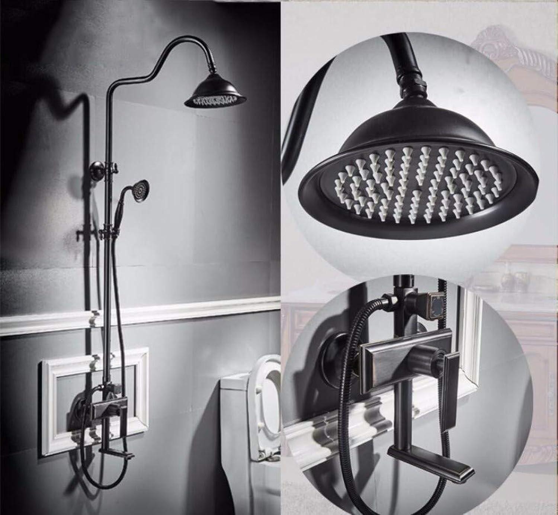 Shower Faucet Set Brass Main Body Round Top Ceramic Dual Handle Black Rainfall Shower Set For Bathroom mixer shower set