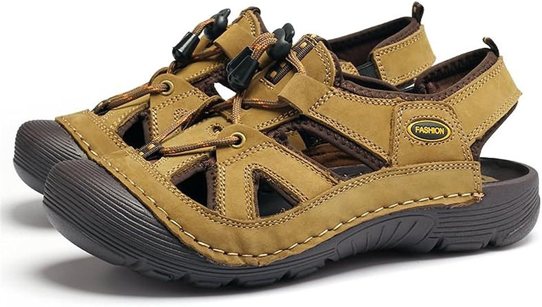 Mens schuhe 2018, Männer Casual Echtem Leder Spitze Stoßfest Stoßfest Stoßfest Outdoor Bergsteigen Outdoor Wasser Schuhe Einstellbare Sandalen  48a24b