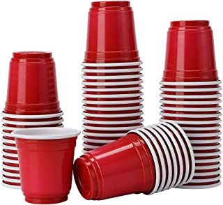 Tashiliving Glasses [100 Pack-2 oz Mini Party, Jager Bomb, Jello Shots, Sample Cups, 2 Ounce, Red