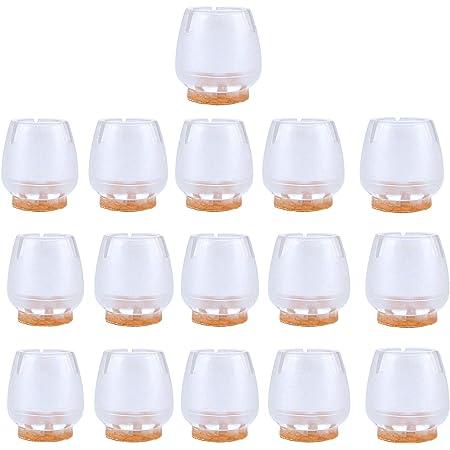 Protectores de suelo NUOLUX, 16 unidades, de silicona, para las patas de los muebles, para patas redondas de 25a29mm, color transparente y marrón