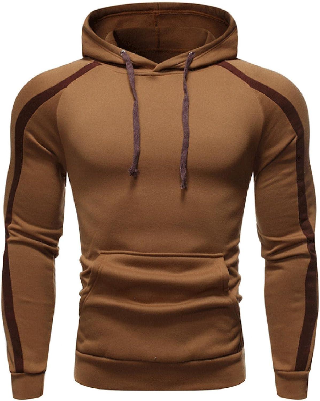 Men's Hoodie Solid Color Athletic Sweatshirt Long Sleeve Slim Fit Drawstring Pullover Tops Jacket Gym Hooded with Pocket