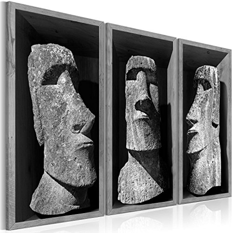 Murando Akustikbild Statue Moai 135x90 cm Bilder Hochleistungsschallabsorber Schallschutz Leinwand Akustikdmmung 3 TLG Wandbild Raumakustik Schalldmmung h-B-0064-b-h