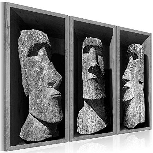 B&D XXL murando Impression sur Toile intissee 135x90 cm 3 Parties Tableau Tableaux Decoration Murale Photo Image Artistique Photographie Graphique Statue Moai h-B-0064-b-h