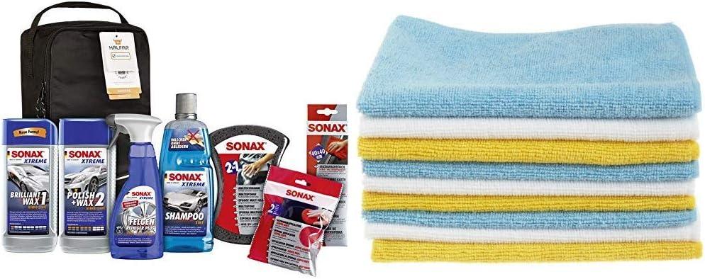 Sonax Xtreme Autopflege Set Inkl Tasche 8 Teilig Autoreinigungs Und Pflegeset Für Den Fahrzeug Außenbereich Art Nr 07615410 Amazon Basics Mikrofaser Reinigungstücher 12 Stück Auto