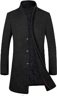 Men's Winter Wool Blend Trench Coat Fleece Lining Top Coat Business Suits