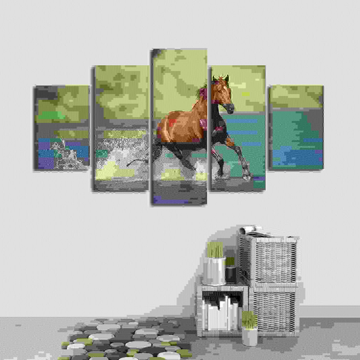 servicio considerado YUGUO 5 Lienzos Posters Modular Modular Modular Canvas Pictures 5 Pieces Animals Horse River Landscape Paintings Frame Decor Home Living Room Wall Art HD Print  venta de ofertas
