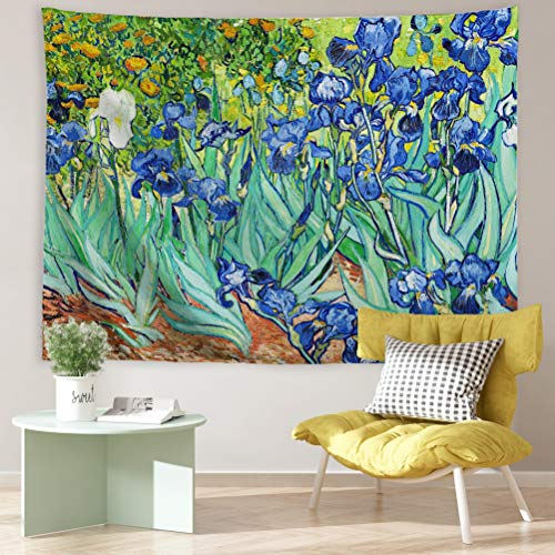 PROCIDA Van Gogh Tapestry Wall Hanging Irises Flower Oil Painting Nature Plant Floral Wall