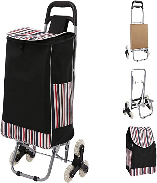 Folding Shopping Cart Grocery Stair Climbing Trolley Cart With Quiet Tri Wheels Removable Waterproof Bag Large Capacity Laundry Utility Cart