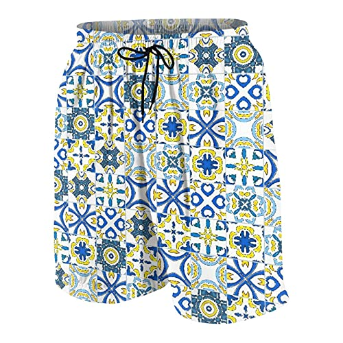 KOiomho Hombres Personalizado Trajes de Baño,como Azulejos portugueses,Casual Ropa de Playa Pantalones Cortos