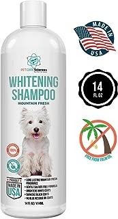 Dog Whitening Shampoo, Gentle Sulfate Free Formula, Brightens White and Darkens Black Coats, Made In The USA, 14 Fl Oz Bottle