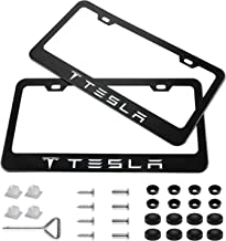 jiayuandz 2 Pieces Stainless Steel for Tesla License Plate Frame with Screw Caps Cover Set, Matte Black