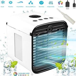 Nifogo Aire Acondicionado Portátil - Aire Acondicionado Móvi Portátil Ventilador Pequeño, USB Aire Acondicionado 3 en 1 Ventilador Purificador Humidificador para el Hogar/Oficina/Habitación