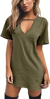 Women Mini T Shirt Dress Summer Choker Sexy Juniors Dresses V Neck Long Tops