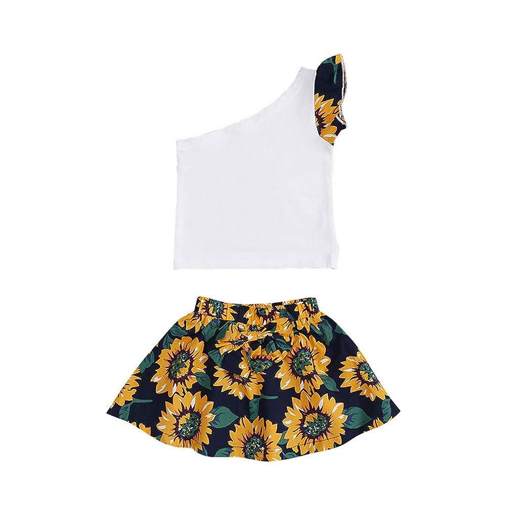 Yaseking Sleeveless Girls Clothing One-Shoulder Solid Color Sleeveless Vest Top + Bow Sunflower Skirt Suit
