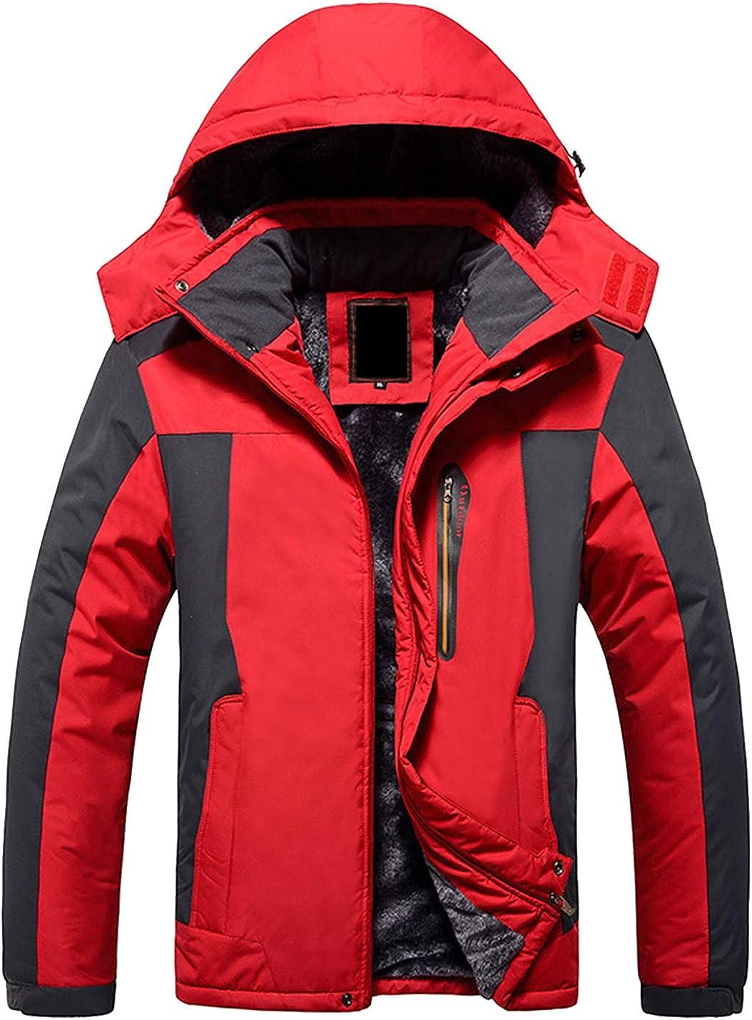 Uaneo Men's Casual Detachable Hood Fleece Lined Outdoor Mountain Hiking Jackets(Red-S)