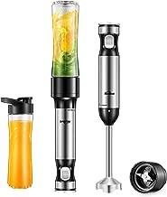 Hand Blender Kealive Smart 12-Speed Immersion Blender with 20oz Tritan Portable Blender Bottle (BPA Free), One Button Operation Stick Mixer, Safety Child Lock, 4-Stainless Steel Blade System, 300W