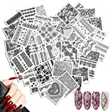 48 feuilles d'autocollants d'art d'onglets mélangés, Mwoot Black lace Sticker Water decal Autocollant Ongle Tips Guide French Décor Manucure Nail Art Tattoo Sticker