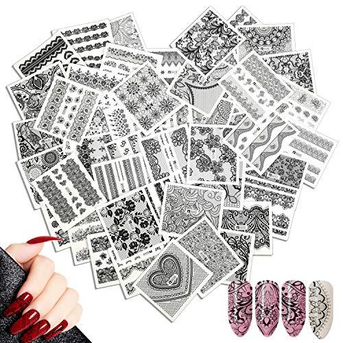 48 fogli adesivi misti per unghie, Mwoot Black Lace Nail Art Water Transfer Sticker Home Decalcomanie per manicure con fiori Piuma per le donne Bomboniere per le unghie fai-da-te Decalcomanie