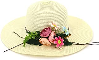 LiJuan Shen 201 Summer Hat Ladies Straw Hat Round Bottom Sun Hat Elegant Beach Hat Flower