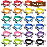 24 Pcs Wrist Band Jingle Bells,12 Different Colors Musical Instruments Gift for Kids