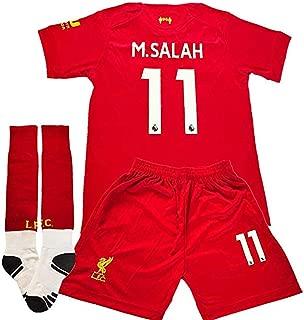 #11 M Salah Liverpool Home Soccer Jersey 2019-2020 Kids Youth Soccer Jersey & Shorts & Socks