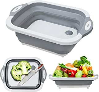 Foldable Multifunction Chopping Board, Collapsible Dish Tub Basin Cutting Board Colander, Vegetable Fruit Wash and Drain S...