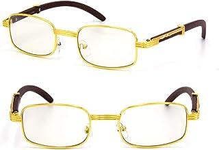 a5f89fced35 For Men s Gold Color Wood Effect Metal Frames Vintage Style Retro Eye Clear  Lens Glasses